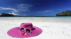 Pink Hat on Beach