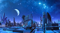 Blue Moon over Futuristic City